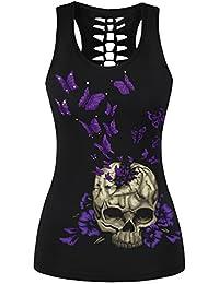 EmilyLe Femme Débardeur à imprimé gothique motifs fantaise tête de mort T-shirt sans manche punk