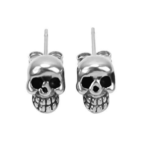 1 Pair Boys Men's Punk Rock Style Stainless Steel Enamel Skull Ear Stud Earrings