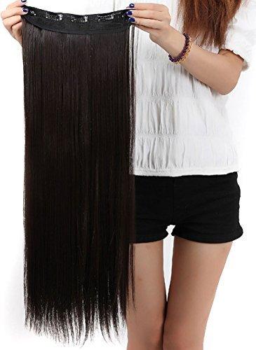 S-noilite® Clip in Extensions Halbperücke Haarverlängerung Haarverdichtung Haarteil 3/4 Perücke Glatt One (Perücke S)