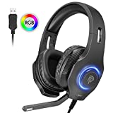 EasySMX Micro Casque Gaming PS4, Casque de Jeu avec Virtuel 7.1 Son Surround RGB LED...