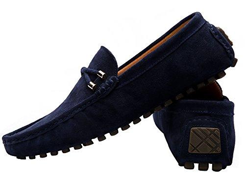 Yaer Herren Halbschuhe Wildleder Mokassin Slipper Confort Bootsschuh aus Leder Blau