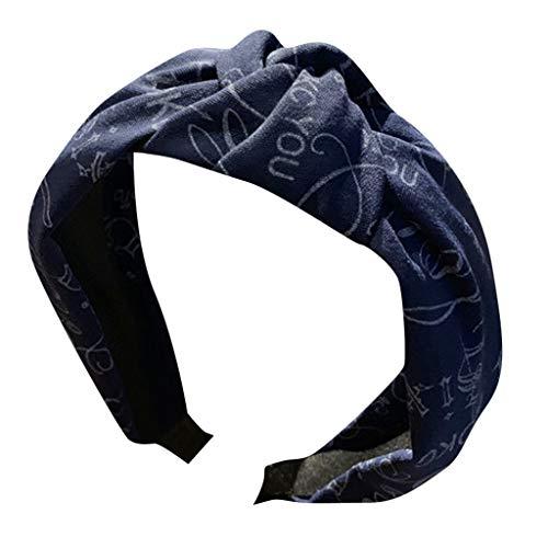 QIMANZI Damen Kristall Stirnband Stoff Haarband Kopf Wickeln Haar Band Zubehör Haarreif mit Knoten und Zierstreifen Retro Style Haarband(A Marine) -