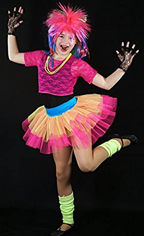 Dance-1980s-Rock-Retro-Stage NEON POP STAR Child's Fancy Dress Costume - All Ages (7-8 years)
