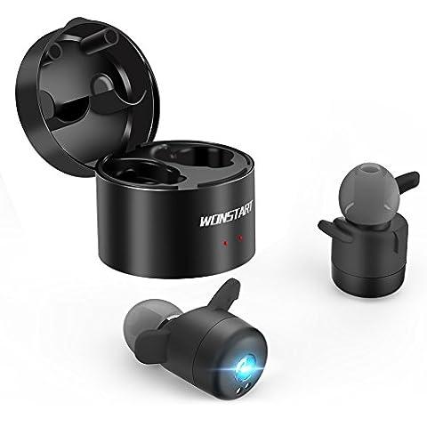 Mini Écouteur Sans Fil Bluetooth V4.2 Rechargeable, Oreillette Sport, Casque Intra-Auriculaires Stéréo, Anti-sueur et Suppression du Bruit, Compatible avec iPhone Android Samsung etc.