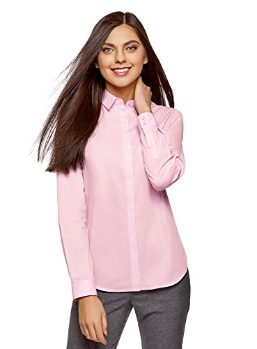 oodji Ultra Donna Camicia Basic Slim Fit Rosa (4001N)