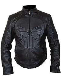 F&H Mens Genuine Leather Punisher Skull Biker Jacket