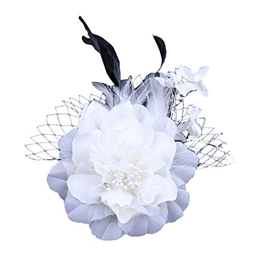 Sheliky Fascinator Flower Brooch Clip Wedding Accessory Carnival Cocktail Party Headwear (Beige)