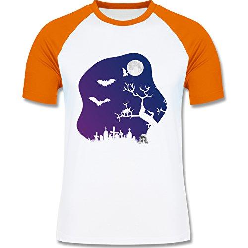 Halloween - Friedhof gruselig Totenkopf Mond - zweifarbiges Baseballshirt für Männer Weiß/Orange