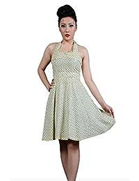 dfc68b06c16 Robe Pin-Up Rockabilly 50 s Rétro Pois Noir pour femme - Pentagramme - Miss  Marylin