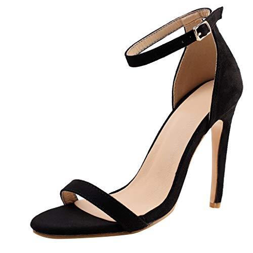 Deloito 2019 Sommer Sexy Damen High Heels Sandaletten Peep-Toe Schuhe Hochzeit Flacher Mund Party Prom Schuhe Abend Stilett Sandalen (Schwarz,36 EU) Sexy High Heel Prom Schuhe