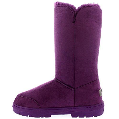 Damen Schuhe Triplet Knopf Fell Schnee Regen Stiefel Winter Fur Boots Lila