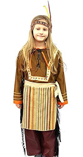 Kleid Monelli Indianer-Kostüm für Kinder 4-5 Jahre Faschingskostüm Indianerin warm mit Zubehör Axt und Federn