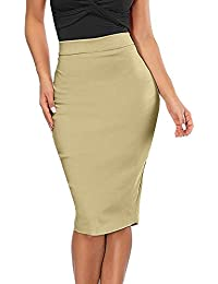 f70dbe06061 HHei K Women s Plus Size Solid Elastic High Waisted Pencil Skirt Package  Buttocks Stretch Bodycon Slit Skirt