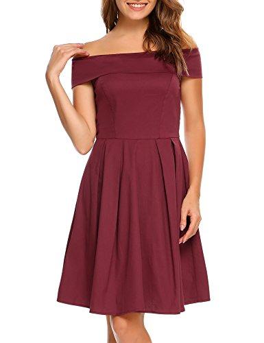 ACEVOG Damen Schulterfrei Sommerkleider Cocktailkleid Rockabilly A-Linie Kleid Festliche Kleider Vintage mit Blumendruck Weinrot