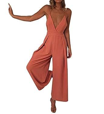 Carolilly Damen Elegant Abendmode V-Ausscnitt Jumpsuit ...