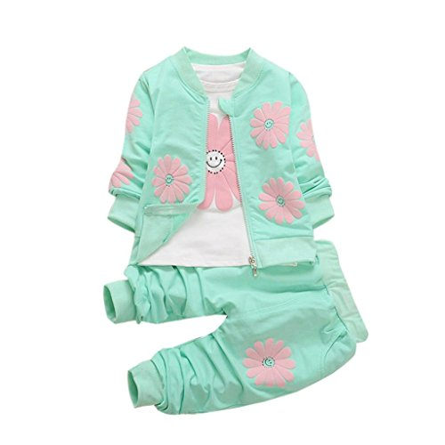 Omiky® Kleinkind Baby Kind Mädchen Outfits Blumen T-Shirt Tops + Blumen Mantel + Hosen Kleider Set (100/L/24Monat, Grün) (1-reise-hose)