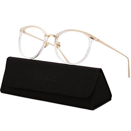 SOJOS Runde Brille Schick Optiker Klar Objektiv Brille Damen SJ5969 mit Klar Rahmen/Gold Bügel