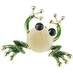 Glamour Girlz - Broche con Forma de Rana en Tono Dorado Brillante, ópalo sintético y Esmalte Verde