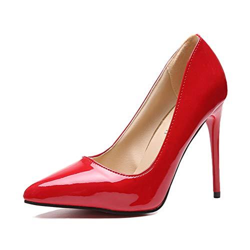 Minetom Damen Pumps Lackleder Stilettos Elegante Stöckelschuhe Klassische Büro Party Pumps Sexy High Heels Spitzer Zeh Schuhe Rot 43 EU