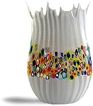 Vaso in vetro di Murrine, in vetro bianco con murrine, vaso alto in vetro soffiato, idea regalo, decorazione p