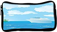 Snoogg Cruise Vector Poly Canvas Student Pen Pencil Case Coin Purse Utility Pouch Cosmetic Makeup Bag