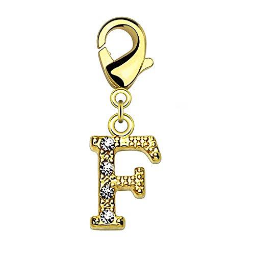 Bungsa® F - Buchstaben Charm Gold 14 Karat Anhänger für Kette Armband Ohrringe Kristall Damen Herren (Kettenanhänger Pendant Beads A B C D E F G H I J K L M N O P Q R S T U V W X Y Z Brass Schmuck)