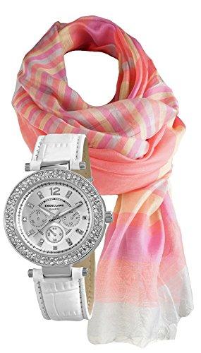 Modische Damenuhr, Edel mit Strass Crystal Besatz, Geschenk- Set mit Schal aus Seidenmischung (Edel Abendmode)