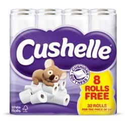 Cushelle Charmin Toilet Rolls 96 Rolls (3 x 32 Packs) Irresistibly Cushiony Soft White Toilet Tissue Ultra-Absorbent and Gentle on the Skin by Cushelle