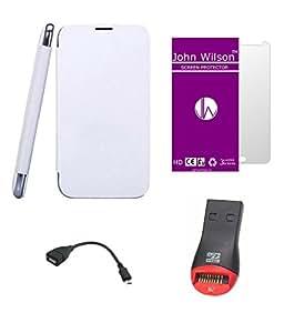 John Wilson Micromax Canvas XL2 A109 Flip Cover White Mem Ready Kit + Screen Cover + OTG Cable + micro sd USB card reader