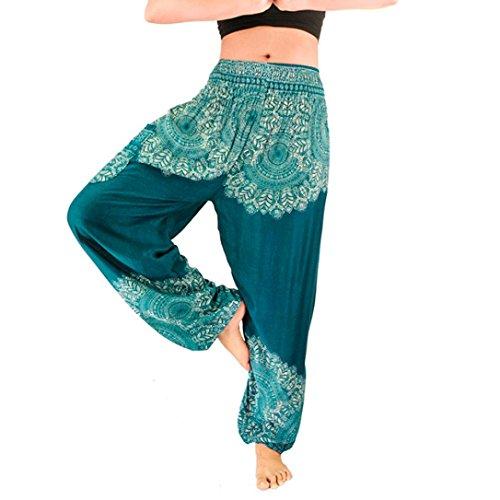 Keepwin-Pantalones Nuevo!! Mujer PantalóN Bombacho Flores PatróN Boho Harem PantalóN Baggy Yoga (Free Size, Azul)