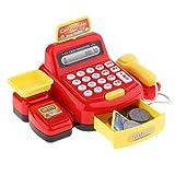 Fenteer Elektronische Registrierkasse Spielkasse mit Scanner für Kinder Rollenspiel, mit Multifunktion wie Musik, Geschichte, Licht, Telefon klingeln usw. - Rot