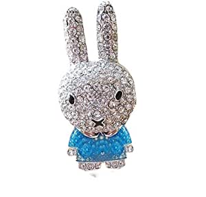 cle usb 8 GO fun originale design fantaisie insolite lapin paillettes enfant mignon bleu paillettes