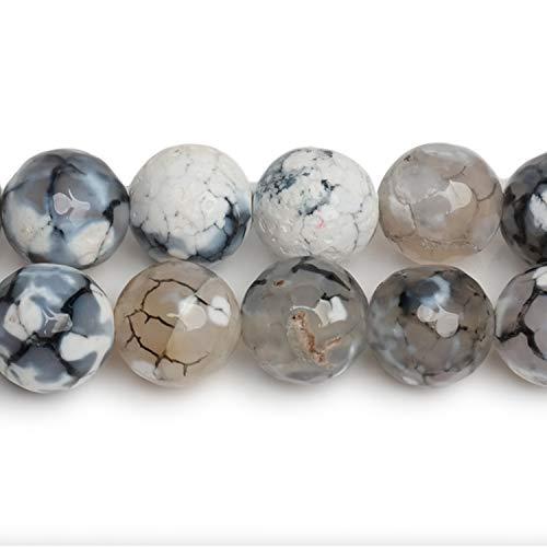 96 pezzi 8 mm perline in cristallo migaven, agata perline per orecchini bracciale collana fai da te creazione di gioielli (bianco e nero)