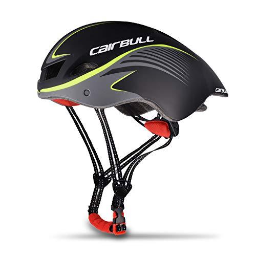 ENJOHOS Einzigartige Desugn Fahrradhelm Bike Racing Helm mit Sonnenbrille verstellbar 56 cm-61 cm (Schwarz)