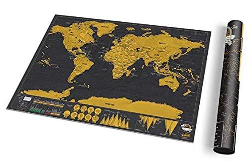 (XXL Premium Weltkarte Zum Rubbeln (82,5 x 59,4 cm) Mit Packliste Und Rubbelchip - Langlebige Scratch Off Map Ohne Knittern - Schwarz/Gold)