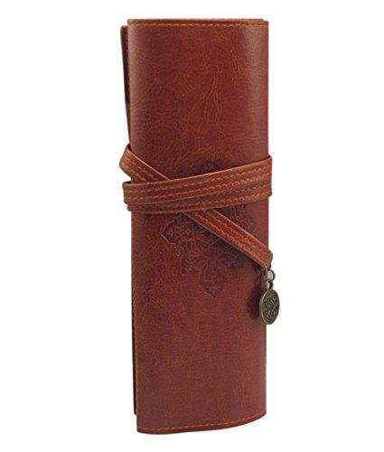 DAYAN Vintage Lápiz Pluma Teléfono cosmético del maquillaje de la PU plegable caja de almacenamiento de contenedores Bolsa Color Marron