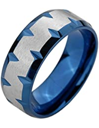 MunkiMix Acero Inoxidable Anillo Ring Banda Venda Azul El Tono De Plata Cepillado Hombre