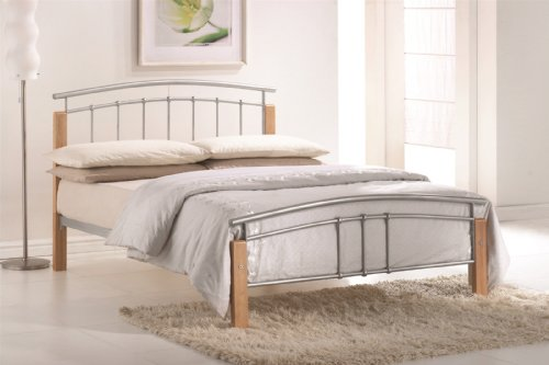 Tetras 4FT Small Double Silver Bed Frame with Beech Posts, Sprung Slatted Base