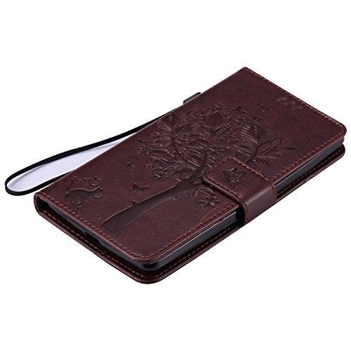 iPhone 7 Plus Hülle Lanyard Strap Ledertasche Brieftasche,iPhone 7 Plus Bookstyle Magnetverschluss [Gold Einfarbig] Standfunktion Handy Hülle,Herzzer Elegant Erhaben Schmetterling Baum Katze Entwurf K Braun