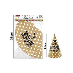 Idea Regalo - takestop® Cappello Cappelli di Carta Cono Scritta Buon Compleanno Pois Oro Feste Capodanno Cappellino MONOUSO Festa Feste Auguri Festeggiamenti Party (Set 36 Pezzi)