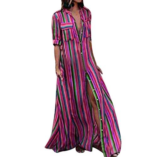 Faldas Largas Mujer Verano Hippies, Zolimx Moda Mujer Manga Larga Rayas Botón Bohe Vestidos Playa Mujer Encaje Vestido Largo Traje (XX-Large, Rosa)