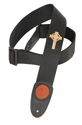 Levy's Leathers Mss8cc-blk 2 inch Polypropylene Strap with Embroidered Celtic Cross - Black