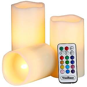 VonHaus Set de 3 Bougies LED en Cire à Commande – Différentes Couleurs et Minuterie