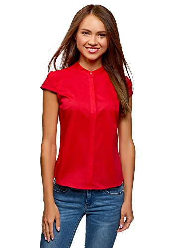 Oodji ultra donna camicia con manica a raglan e collo alla coreana, rosso, it 42 / eu 38 / s