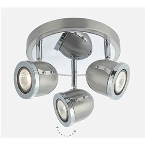 3 Light Satin Silver Chrome Adjustable Heads Gu10 Lamps