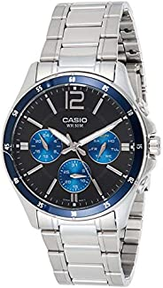 Casio Men's Quartz Watch with Black Dial and Stainless Steel Strap , MTP-1374D