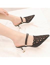 KPHY The Spring And Summer Wild Expose - Zapatillas para mujer (6 cm, tacón alto, 36 unidades), color negro