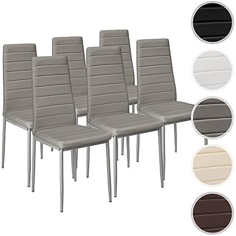 TecTake Set de sillas de comedor 41x45x98,5cm - disponible en diferentes colores y cantidades - (6x Gris | No. 401851)