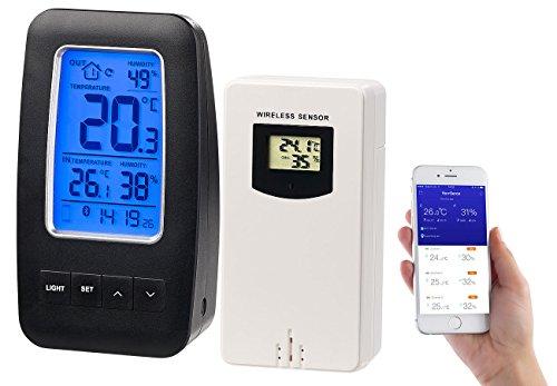 infactory Data Logger: Thermometer/Hygrometer-Datenlogger mit Außensensor & App-Unterstützung (Funk Außensensor)