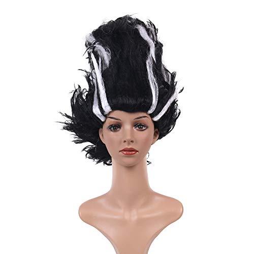 LL Perücke Frauen Perücke Festival Mode Halloween Realistische Pop Schwarz und Weiß Mischfarbe Cosplay Faser Haar Sets